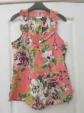 NEXT SALMON PINK LIME GREEN COTTON FLORAL PRINT SEQUIN RUFFLE TUNIC TANK VEST 8