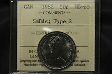 1982 Canada 50 Cents ICCS MS-65 Small Beads; Type 2. Scarcer variety.