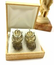 ethnic ornament peru great condition Hand-made hanging sterling silver earrings