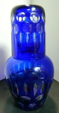 "Vintage Cobalt Blue Cut To Clear Glass Tumble Up Set 8.25"" x 4"" Excellent Cond"