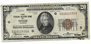 1929 $20 Brown Seal Chicago Federal Reserve Note