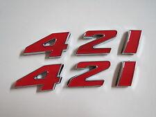 PONTIAC 421 ENGINE ID FENDER HOOD SCOOP QUARTER PANEL TRUNK EMBLEMS - RED