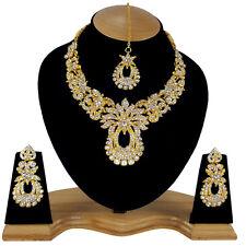 Fashion Party Wear Gold Plated White Stone Necklace Set Jewelary Earring & Tikka