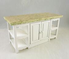 Dollhouse Miniature White Kitchen Center Island w/ side shelves, T5418