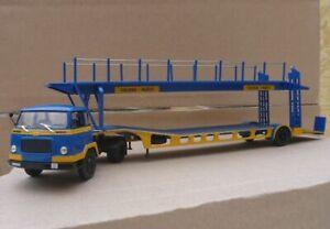very rare IXO-Altaya - 1/43 scale - UNIC MZ36 TCA Truck with car-transport trail