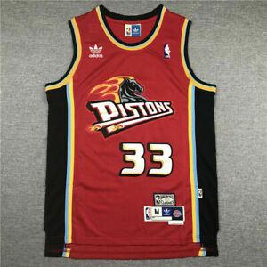New Men's Grant Hill Detroit Pistons Red Throwback Classics Swingman JerseyS-XXL
