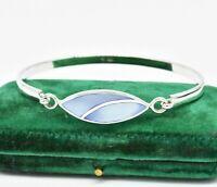 Vintage Sterling Silver Bracelet Blue Mother of Pearl Statement Art Deco #W405