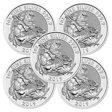 Lot of 5 - 2019 U.K. 2 Pound Silver Valiant .9999 1 oz Brilliant Uncirculated