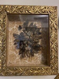 Antique Victorian Mourning Hair Wreath Golden Frame Blond Grey Brown Hair