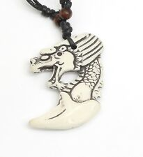 Adjustable Necklace with a Asian Dragon Design White Tribal Pendant