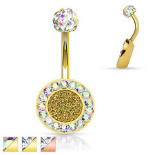 """Navel Belly Button Ring 14g 3/8"""" Cz Sparkling Center Gold Ip Surgical Steel"""