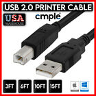Printer Cable USB 2.0 A to B A Male to B Male for HP Cannon Epson Dell Brother