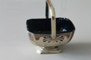Vintage Brass metal with Blue glass inset Dish - Flower Basket design