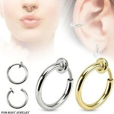 Spring Action NO Piercing FAKE Septum Lip Earring Belly in Rhodium Plated Brass