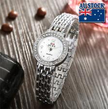 New Crystal Rhinestone Silver Analog Quartz Women's Wrist Watch With White Dial