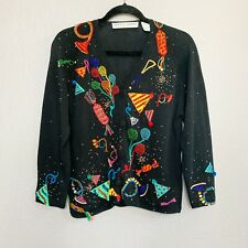 Vintage Michael Simon Cardigan Sweater Party Celebration Balloons Size 1 S/M