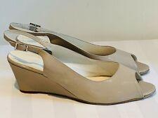 Zodiaco Stone/Beige Patent Wedge High Heel Dress Sandals Size EU41/UK8