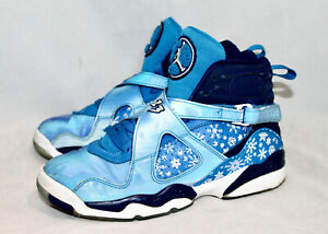 NIKE AIR JORDAN VIII Retro GS Snowflake Hi Tops 305368 Boy's 6Y Blue White