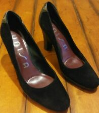 Unisa Womens Black Suede Heel Shoes Size 8.5 M