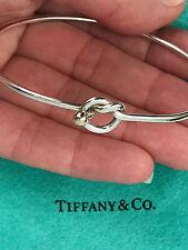 Tiffany & Co Plata de Ley 18 Ct 18k Oro Amarillo Nudo de Amor Pulsera