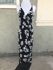 Lush Floral Maxi Dress M With Straps Back