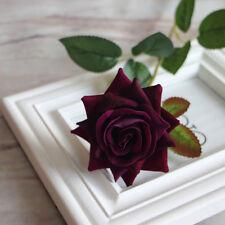 Velvet Rose Fake Silk Flowers Leaf Artificial Home Wedding Decor Bridal Bouquet