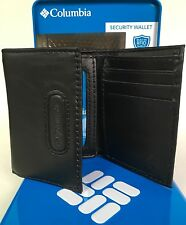 COLUMBIA SPORTSWEAR Mens Built In RFID Shield Security Trifold Wallet Black New