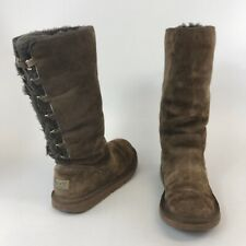 Genuine Uggs 38 UK5.5 Brown Leather Suede Mid Calf Pull Elastic Sheepskin Boots