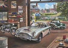 ASTON MARTIN DB5 Jaguar E tipo Norton ES2 moto anni'60 GARAGE compleanno carta