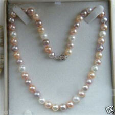 """Pretty 7-8mm Multicolor Freshwater Cultured Pearl Necklace 18""""AAA"""