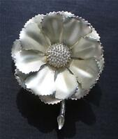 Vintage Signed CORO Silvertone FLOWER Matte Finished Petals Pin Brooch