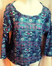 EUC Girls Pinky L 14 Blue Flower Shirt