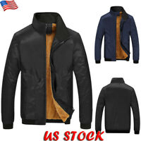 New Men's Winter Fur Lined Baseball Jacket Zipper Warm Thick Fleece Coat Outwear