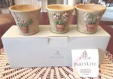 PartyLite TERRACE BLOSSOM TRIO Terra Cotta Tealight Candle Holder New Box P9282