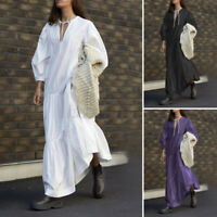 ZANZEA UK Womens Puff Sleeve Casual Loose Tiered Layered Kaftan Maxi Long Dress