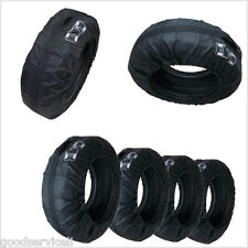 "4 Pcs Black Nylon Car Off-Road Tire Tyre Seasonal Storage Bags Fit 16""-22"" Size"