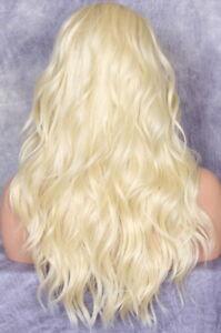 Long Beach Wavy Pale Blonde Human hair Blend Full Wig Heat OK Bangs FBW 613