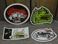LOT OF 4 HOT ROD RACING DECALS FORD T 1932 COUPE BONNEVILLE RAT CUSTOM VTG AUTO