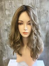 "KOSHER YAFFA WIGS 100% VIRGIN HUMAN HAIR WIG 19"" M  ASH BLONDE WITH DARK ROOTS"
