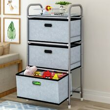 Storage Tower 3 Drawers Fabric Dresser Unit Organizer Closet for Room Gray