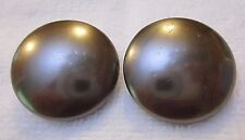 Vintage Round Button Gray Silver Tone Clip On Earrings