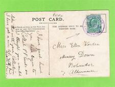 Plymouth postcard used 1904 Bolventor Launceston violet ink skeleton postmark