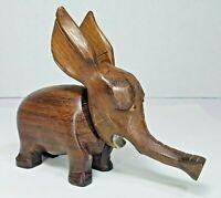 Vintage Hand Carved Wooden Elephant Bottle Opener Corkscrew Glass Eyes Teak Cute