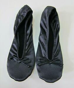 New Isotoner Black Classic Lycra Satin Leather Ballerina Slipper Shoe Women 8-9