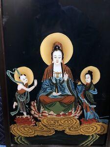 ANTIQUE CHINESE PAINTING GUAN YIN KWAN YIN LOTUS REVERSE GLASS BUDDHIST QING