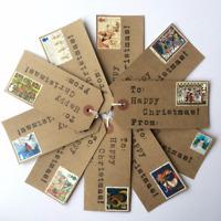 10 X Christmas Gift Tags. Handmade With Vintage Postage Stamps.