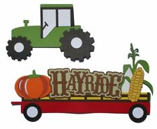Hayride Title 5 x 9 & Tractor 2-Piece Set Fully-Assembled Laser Cut Scrapbook E