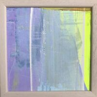 "Original Abstract Acrylic Painting Framed 6.5"" Sq Framed Fine Art Bright Signed"
