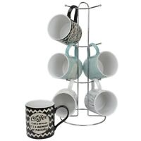 Home Basics It's Coffee Time 6 Piece Mug Set with Stand, Multi-Color - MS47783