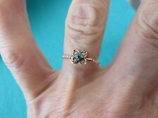 ANTIQUE 10K ROSE GOLD EMERALD & SEED PEARLS BRAID DESIGN RING SZ 5 3/4 VERY OLD